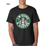 """I Love Guns & Coffee"" Men's T-Shirt Sizes SM-4XL White-Black-Sand-Grey"