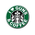"""I Love Guns and Coffee"" 4 Inch Round Vinyl Sticker"