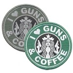 I Love Guns and Coffee Embroidered Patch